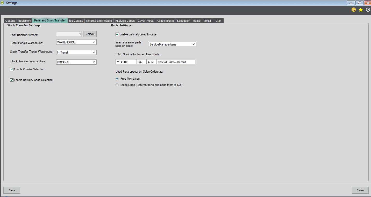Sicon Service Manager Help and User Guide - Utilities - parts and stock tab
