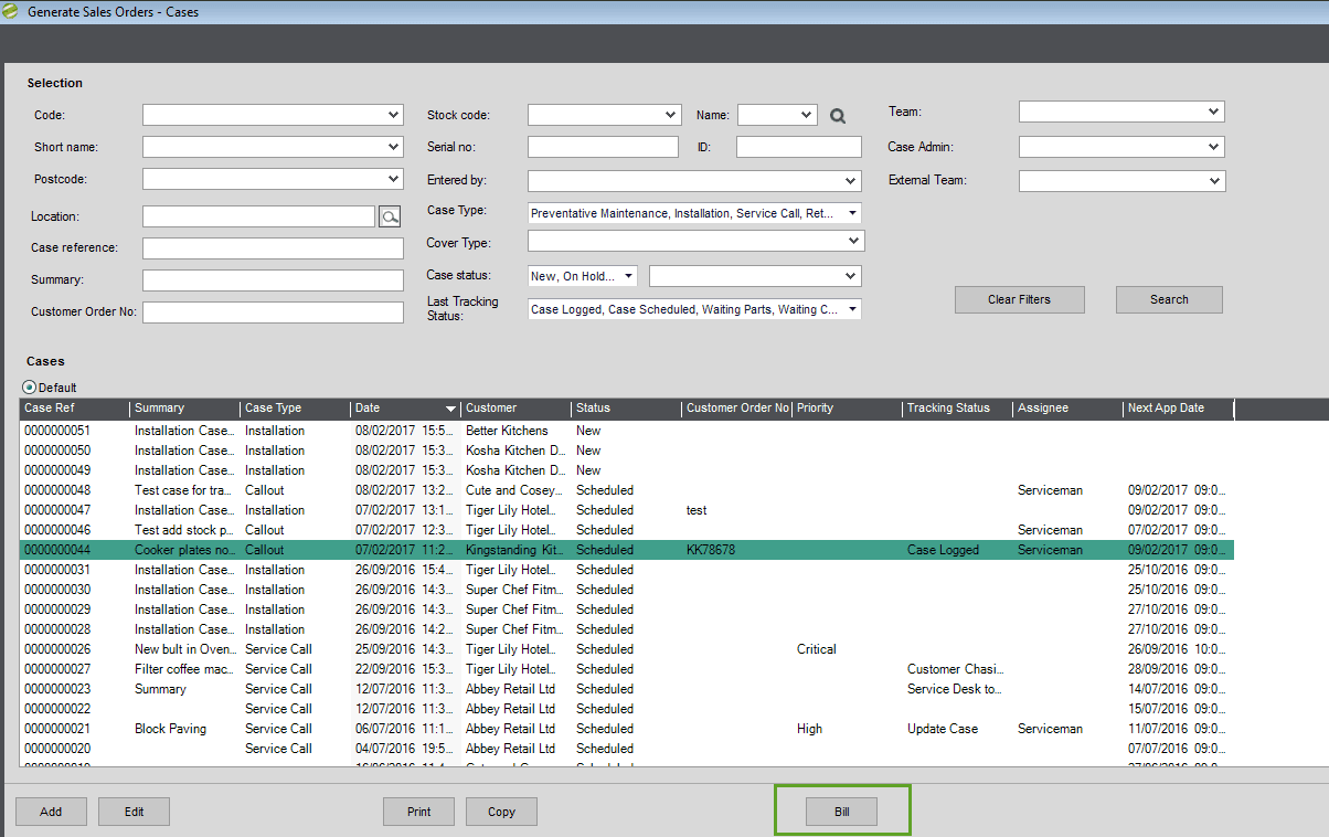 Sicon Service Manager Help and User Guide - generate sales order