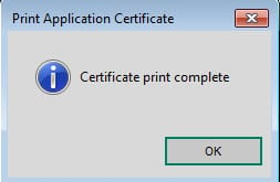 Supplier Print Application Certificate confirmation