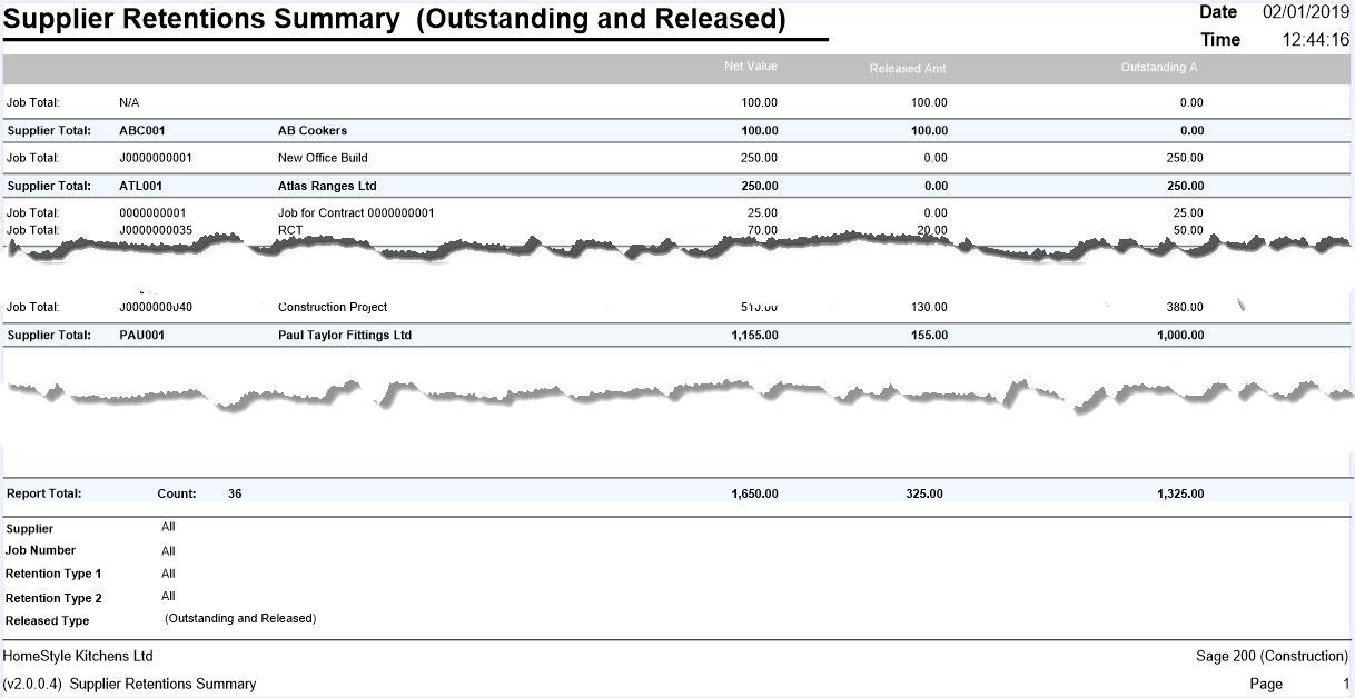 Supplier Retentions Summary Example -14 4 Supplier Ret NEW   Sicon Ltd