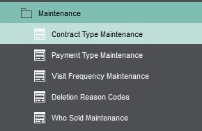 Sicon Contract Manager Help and User Guide contract maintenance sub menu