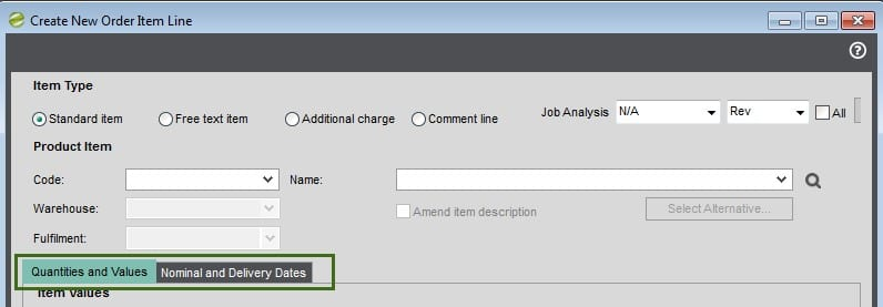 Sicon Contract Manager Help and User Guide sales order standard screen