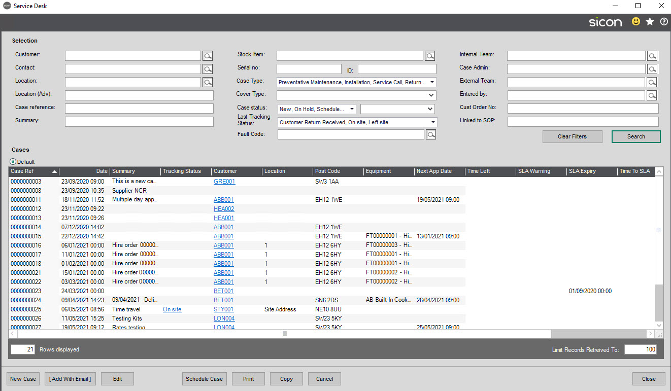 Sicon Service Help and User Guide - screen 1