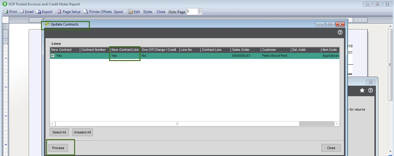 Sicon Contract Manager Help and User Guide sop posting screen new line or not