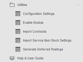 Sicon Contract Manager Help and User Guide - Utilities Menu