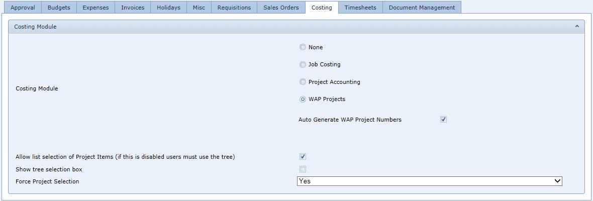 Sicon WAP System Settings Costing Tab