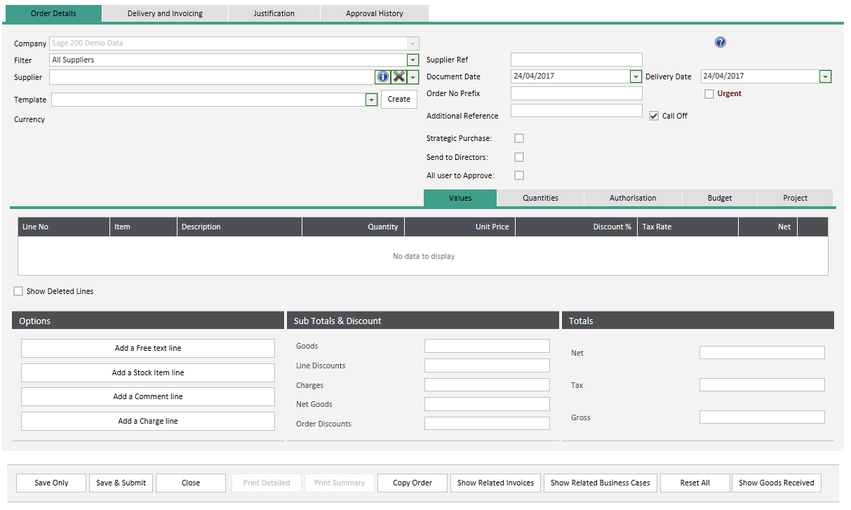 Sicon WAP Requisitions Help and User Guide - Order Details Tab