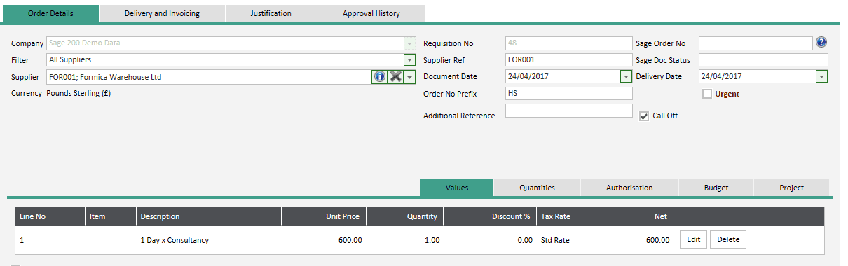 Call Off/Service Requisitions = Order Details - Values Tab
