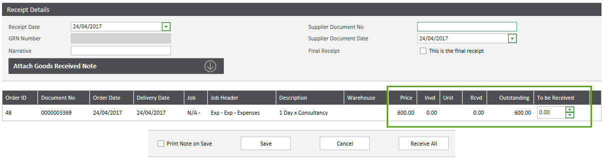Call Off/Service Requisitions - Receipt Details