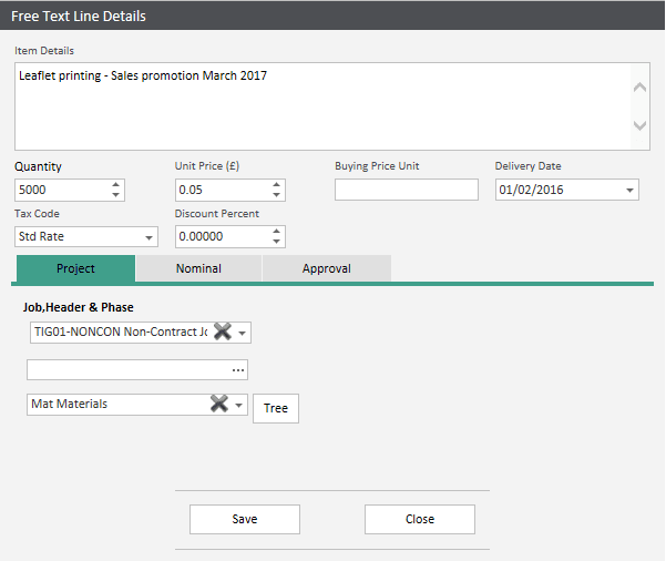 Sicon WAP Requisitions Help and User Guide - Adding a Free Text Line