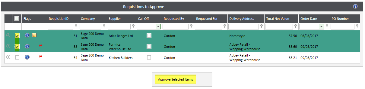 Sicon WAP - Requisitions to Approve