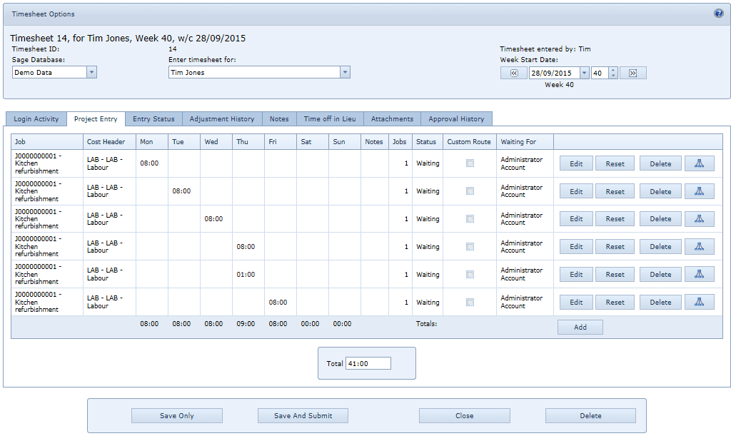 4.2.1 Linking Timesheets 4