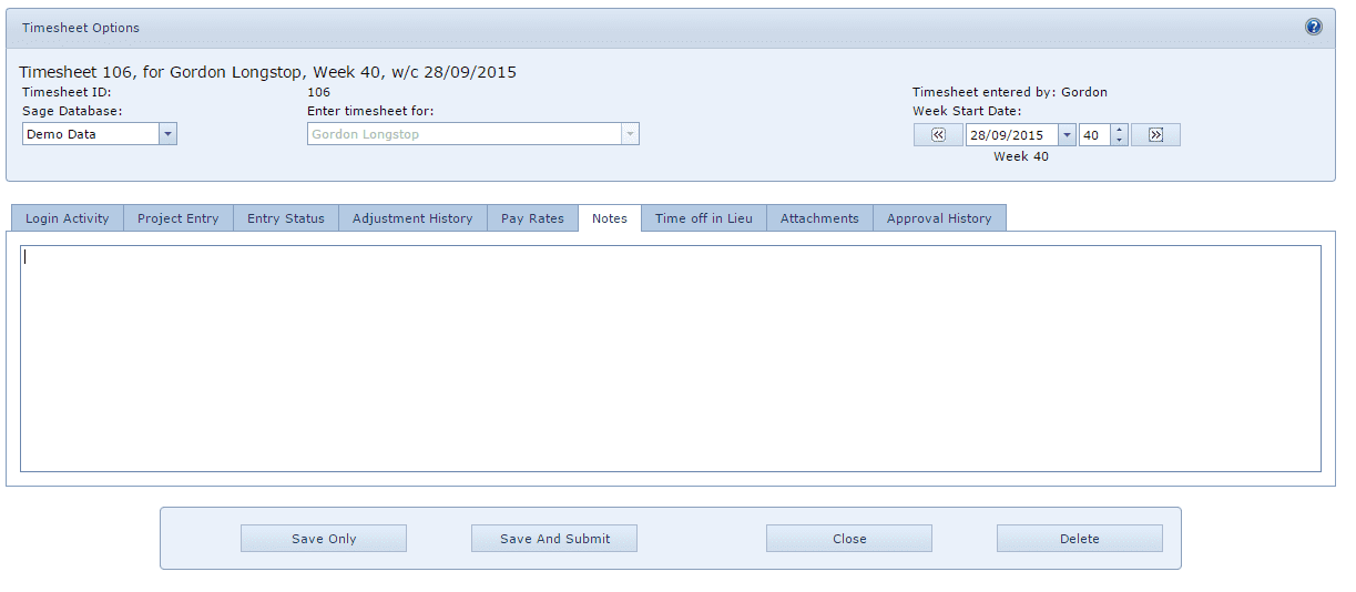 WAP Timesheets Help and User guide - Timesheet Options - NOTES TAB