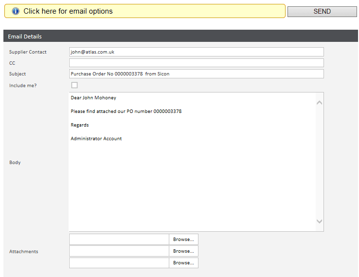 Email options - Sicon WAP Requisitions