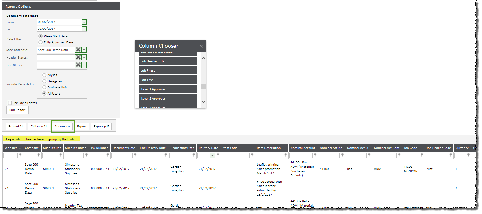 Sicon WAP Requisitions - Reports