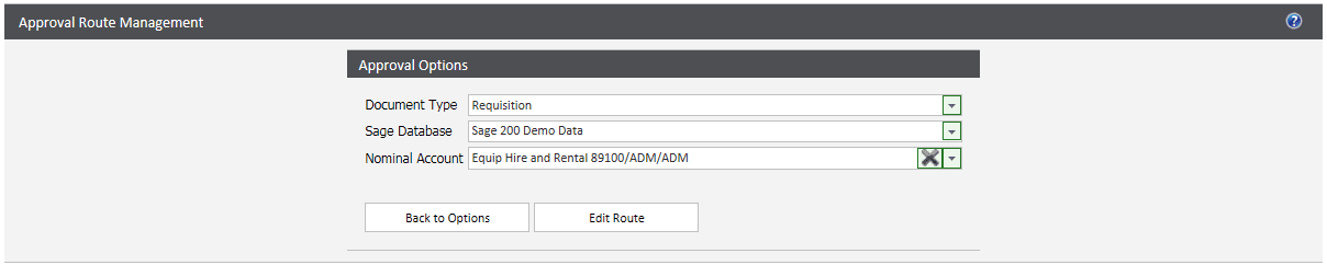 Sicon WAP Approval Routes Help and User Guide - editing a single route