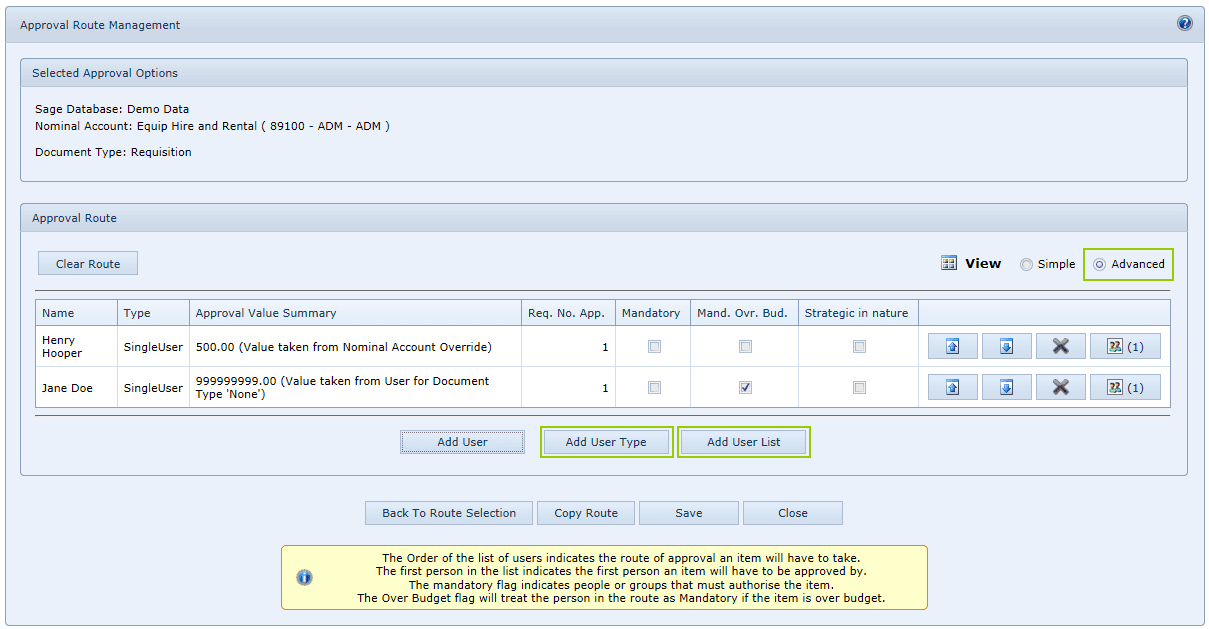 Approval Route Management
