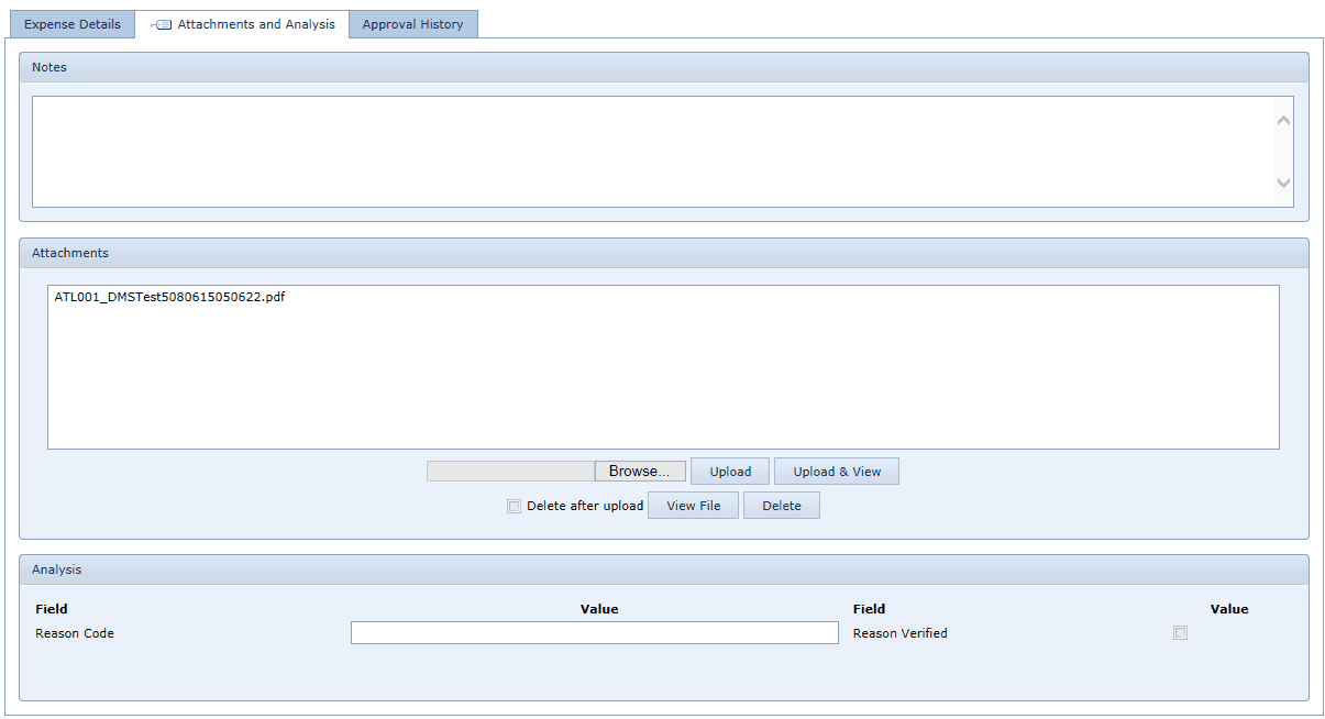 Attachments and Analysis Tab
