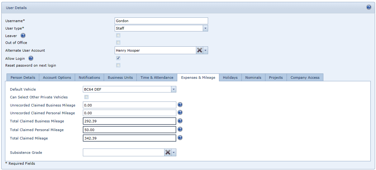 Mileage User Settings