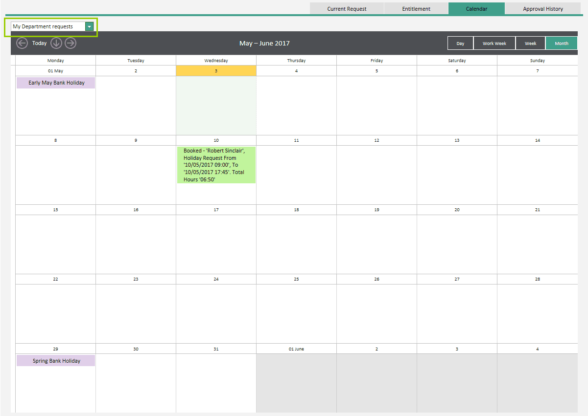 Sicon WAP Holidays Help and User Guide - calendar tab
