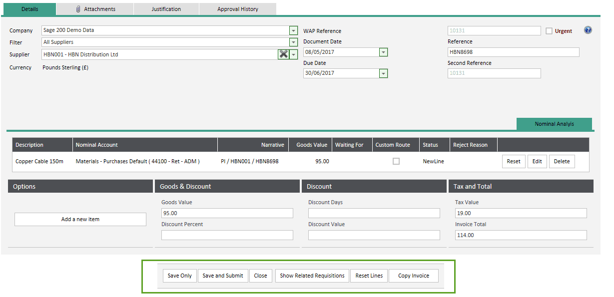 Sicon WAP Invoice Approval Help and User Guide - Invoice Entry