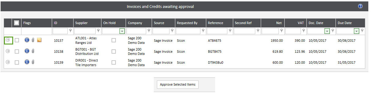 Sicon WAP Invoice Approval Help and User Guide - Approval Route