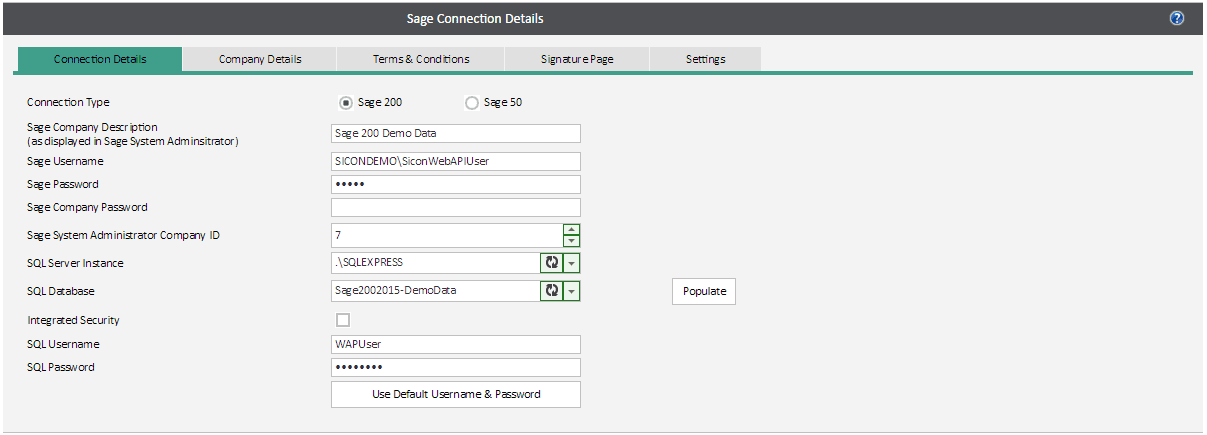 Sicon WAP System Settings Help and User Guide - sage admin connection deailts