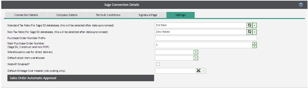 Sicon WAP System Settings Help and User Guide - sage connections settings