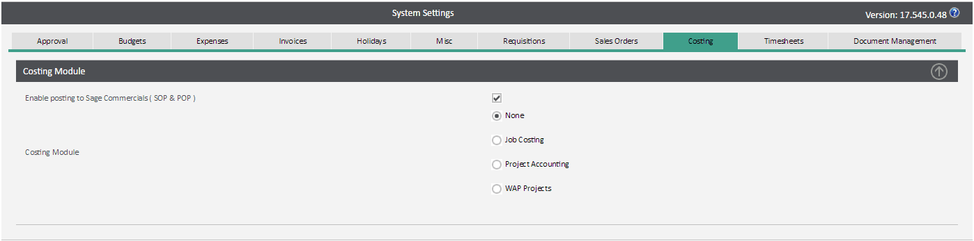 Sicon WAP System Settings Help and User Guide - costing tab
