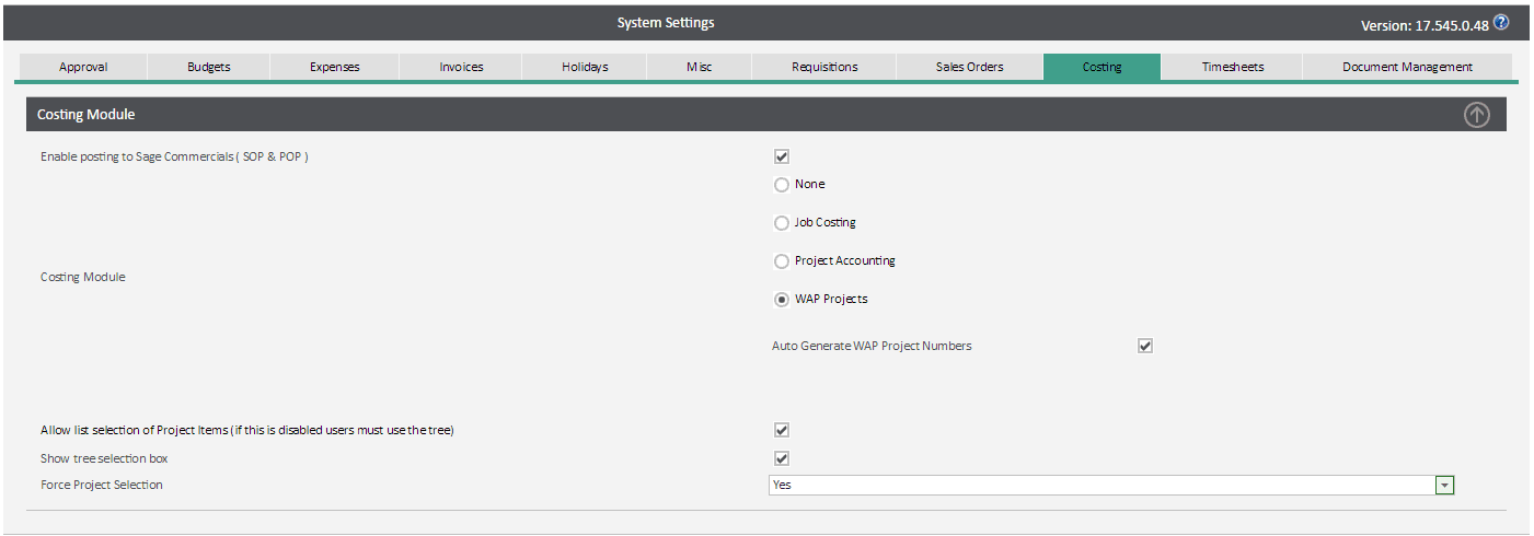 Sicon WAP System Settings Help and User Guide - wap project costing
