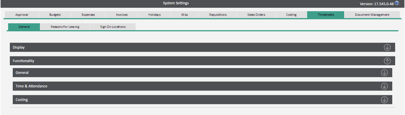 Sicon WAP System Settings Help and User Guide - timesheets tab