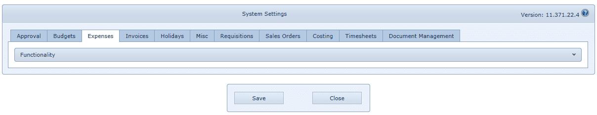 System Settings Expenses Tab