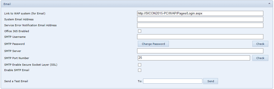 System Settings Email