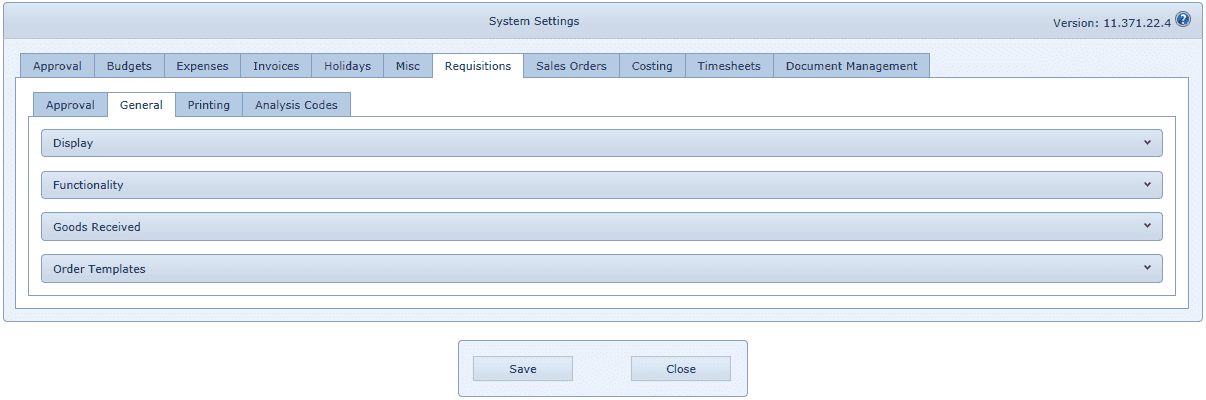 System Settings Requisitions Tab