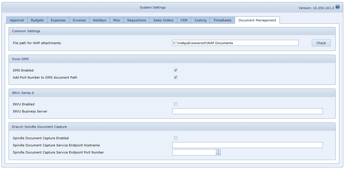 System Settings - Document Management