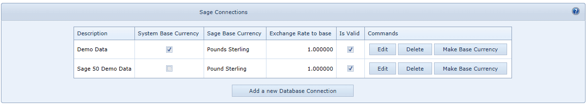 System Settings Sage Connections