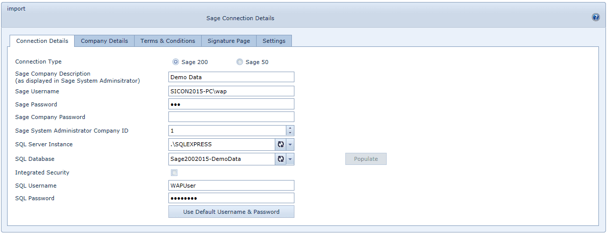 System Settings Sage Connections Connection Details