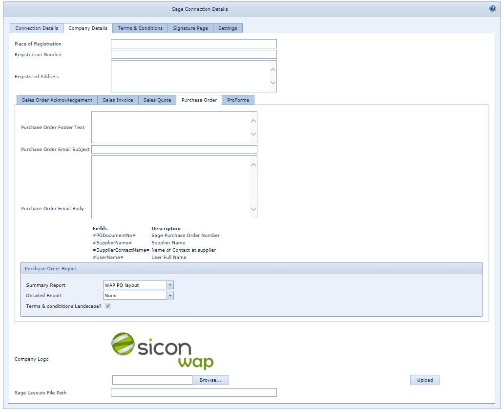 System Settings Sage Connections - Company Details