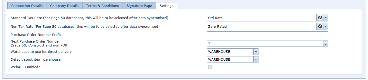 System Settings Sage Connections, Settings