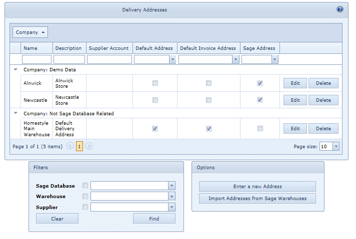 System Settings Delivery Addresses