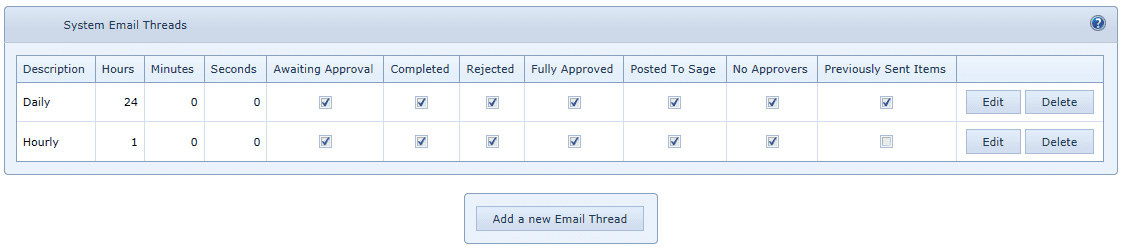 System Settings Email Threads
