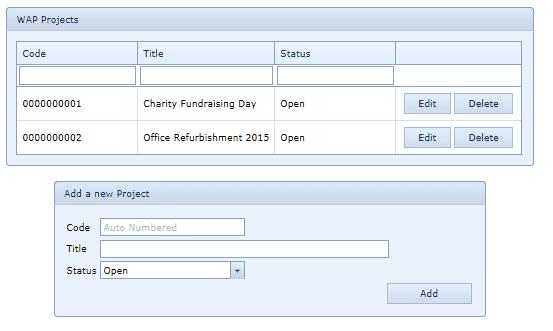 System Settings WAP Projects