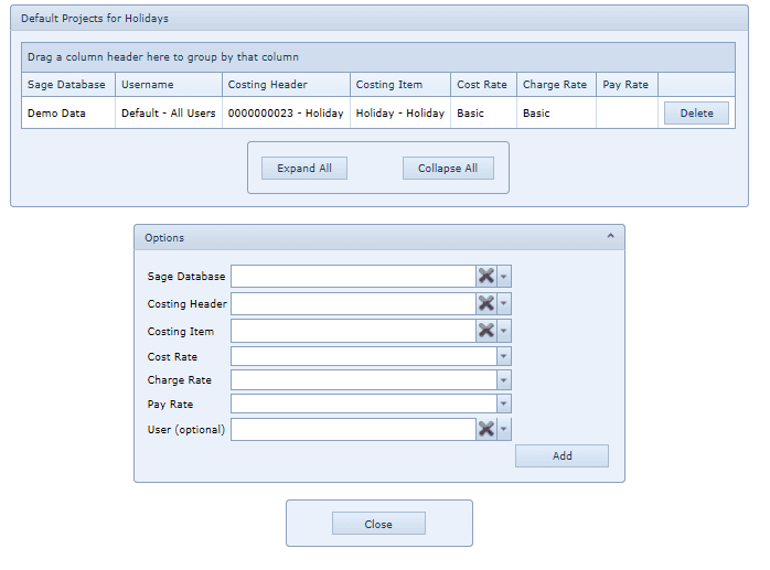 System Settings Default Projects for Holidays