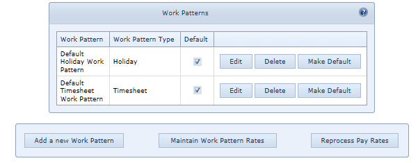 System Settings Work Patterns & Rates