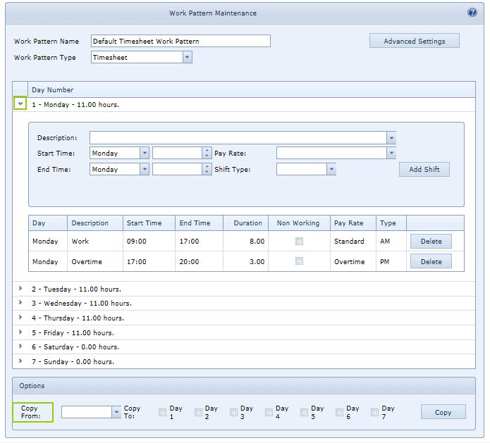 System Settings Work Pattern