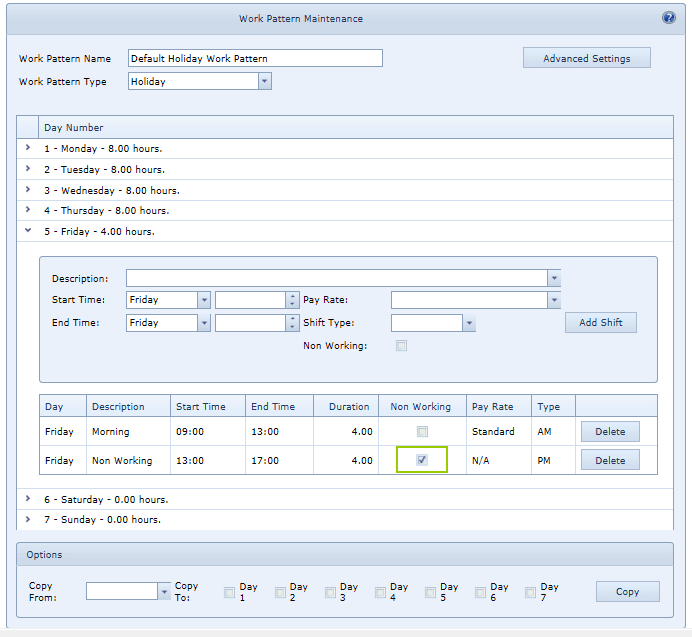 System Settings Work Patterns