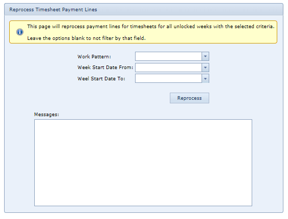 System Settings Reprocess Timesheet Payment Lines