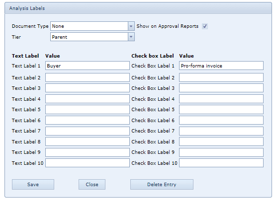 System Settings Analysis Labels