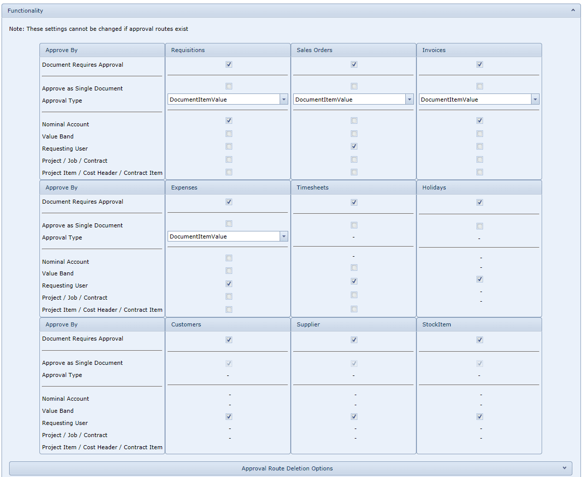 System Settings - Functionality