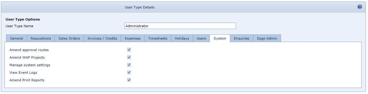 User Settings System Tab